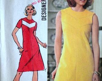 Vintage 70's Simplicity 5677 Designer Fashion Sewing Pattern, Misses' Dress, Size 14, 36 Bust, retro Mod