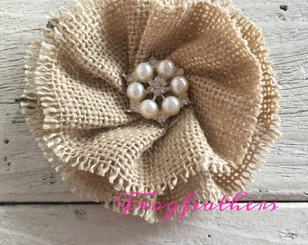 BURLAP FLOWER with 1 inch Pearl and Rhinestone Center-3 1/2 inches-set of three