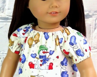 Snowman Peasant Top, Doll Shirt, Handmade to fit American Girl Doll