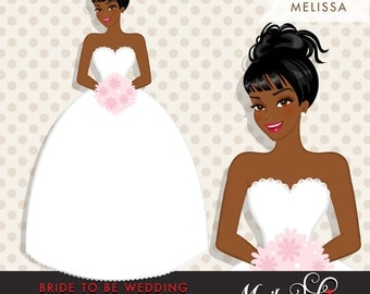 African American, dark skin Bride Clipart. Bride to be wedding clipart, character illustration, wedding invitation clipart, bridal shower