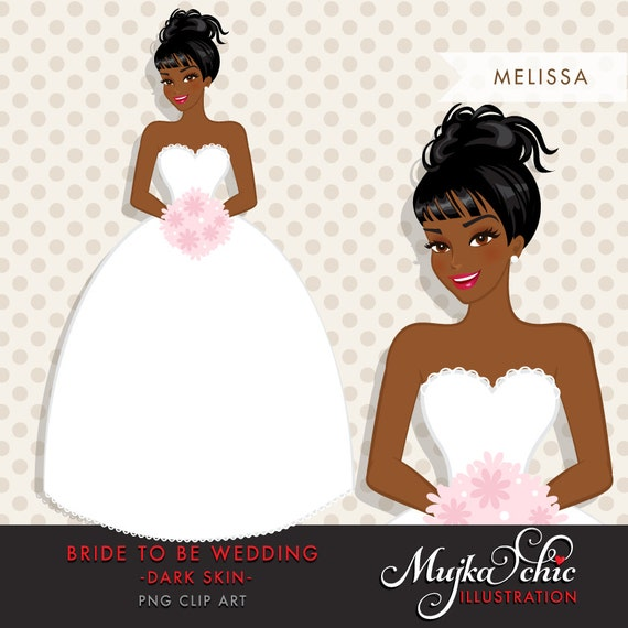 african american, dark skin bride clipart. bride to be wedding, Wedding invitations