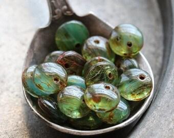 OCEAN DOTS .. 20 Picasso Czech Glass Lentil Beads 6mm (4694-20)