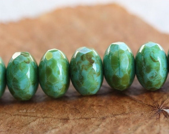 sale .. ROLLING ROX .. 10 Picasso Czech Glass Rondelle Beads 10x7mm (1754-10)