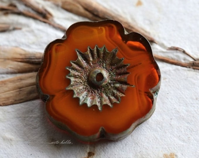 ORANGE PANSIES .. 1 Picasso Czech Glass Flower Beads 22mm (5247-1)