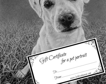 Gift certificate for a beautifully hand drawn Pet Portrait