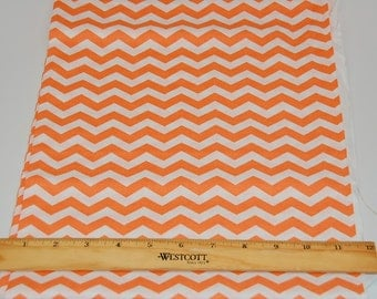 Light Orange and White Chevron Fabric  -  Cotton Quilters fabric 1.5 yards