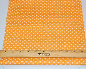 Light Orange and White Polka Dot fabric  -  Cotton Quilting fabric by the yard