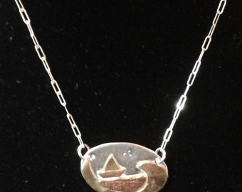 Surfing the Gulf sterling silver copper and brass seascape pendant