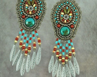 Earrings, bead embroidery, beaded,turquoise, mosaic, handmade, western