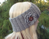 Heather Gray Ear Warmer, Crochet Headband with Flower, Head Wrap, Womens Ski Band, Chunky Earwarmer, Winter Headband, Gift for Her