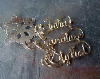 Multi Tier WORD Pin Brooch 14K GOLD Filled WIRE Name Tag Christmas Gift Stocking Stuffer