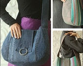Side Note Satchel PDF sewing epattern - roomy tote bag to make from fabric or recycled denim jeans