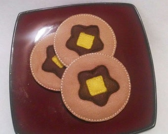 Felt pancakes Play food set of 3 PLAY Pretend Felt Food with butter and syrup #PF2507