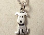 Tiny sitting puppy necklace / pendant