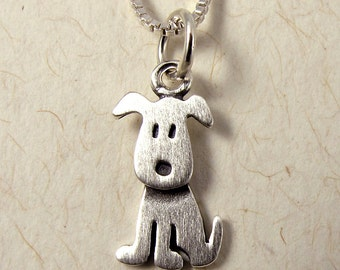 Tiny sitting puppy necklace / pendant