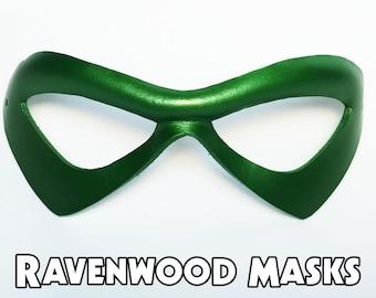 Phantom cosplay Halloween costume Elf, Fairy, Green Arrow, Robin pearl green leather mask - fast shipping