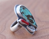 Turquoise, bamboo coral, and sterling silver ring