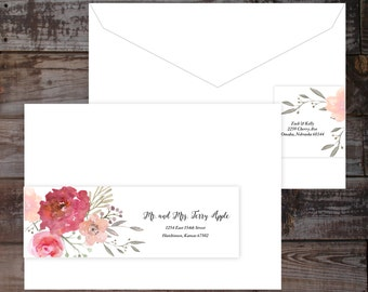 Wrap around label, address label, guest addressed label, wedding address label, watercolor label, floral label, mailing label, recipient