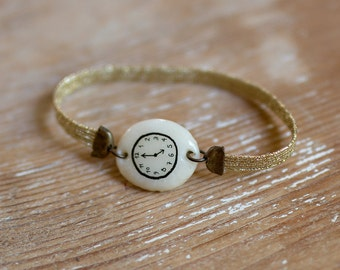 Golden Fake watch bracelet. Hand molded charm watch. Cold porcelain toy clock jewel. Shiny gold elastic watchband. Girly Xmas Party Gift