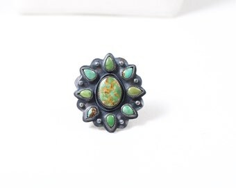 Turquoise natural King's Manassa turquoise wire rope detail granulation detail handmade size 9 OOAK Navajo southwest ring