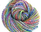 Handspun Yarn Chunky Yarn Hand Dyed Bulky Wool Rayon Silk Yarn Art Yarn  6.2 oz - Rainbow Sparkle