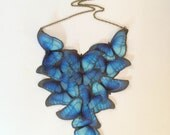 Migration - Handmade Blue Morpho Cotton and Silk Organza Butterflies Necklace - One of a Kind