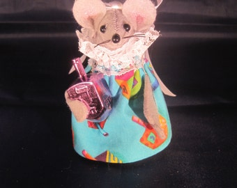 Felt Mouse with a Dreidel. NEW LOWER PRICE