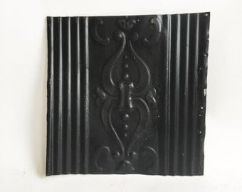 """AUTHENTIC 1890's Tin Ceiling Tile Panel Black 12""""x 12"""" Arts and Crafts  RECLAIMED 220-16"""