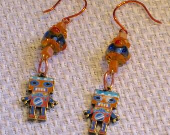Orange and Blue Robot Earrings