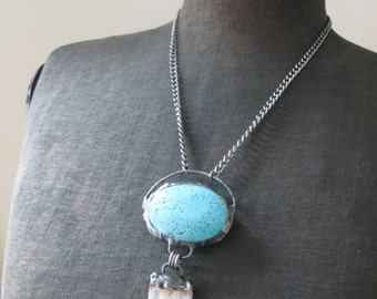 Blue Moon - Giant Howlite Turquoise Oval with Quartz Cluster