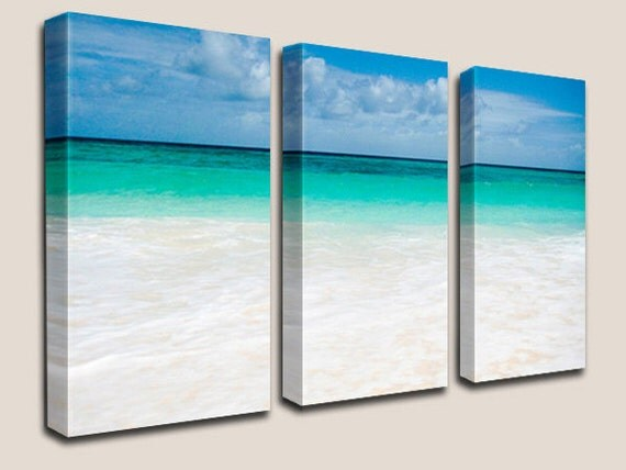 Beach Decor, GICLEE Canvas Art, Photography, Decorations, Turquoise, Caribbean, Beach, Sand, Waves, Barbados, Coastal, Triptych, Home Decor