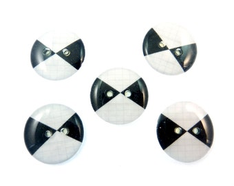 "5 Black and White Sewing Buttons. Sewing Buttons. 3/4"" or 20 mm.  Handmade by Me.  Washer and Dryer Safe."