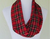 Red Plaid Infinity Scarf, Women's Fashion Scarf, Circle Scarf, Loop Scarf, Necklace Scarf, Eclectasie