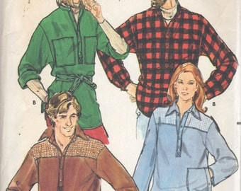 Butterick 6235 1970s Mens Loose Fitting Shirt Pattern Lumberjack Mans Vintage Sewing Pattern Mens Pullover Top Chest 44 UNCUT