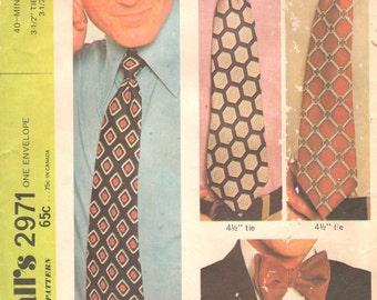 McCalls 2971 1970s Easy 40 Minute Mens Neck Ties  Bow Tie Pattern Adult Teen  Sewing Pattern