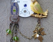 Antique Brooch Pocket watch parts Vintage Bird JEWELRY Blue Green glass beads