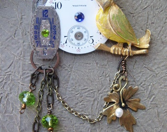 Antique Brooch Pocket watch parts Vintage Bird JEWELRY Blue Green glass beads