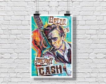 "Art Print  Poster 12 x 18"" - Johnny Cash - Hello I'm Johnny Cash country music man in black nashville pop art for the walls"