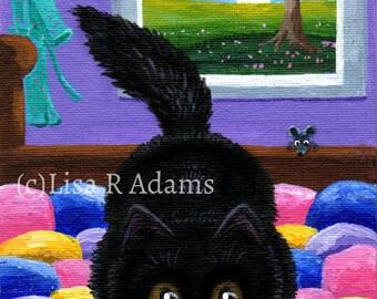 Black Cat Wall Art Print Mouse Quilt Canvas Print of Original Painting size 5x7 Creationarts
