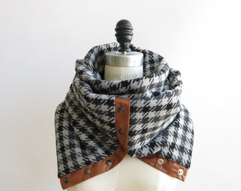 Houndstooth Chunky circular infinity unisex  scarf , men's scarf , women scarf