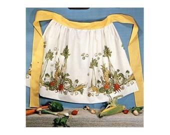 DIY Vintage Apron Kit Vegetable Cotton Print Fabric Kitchen Half Apron Sewing Project DIY Sewing Crafts Kit 1970s