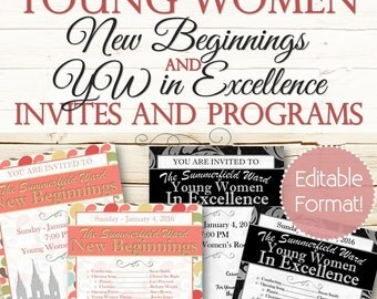 EDITABLE Young Women New Beginning's and YW in Excellence Invites & Programs - Instant Download