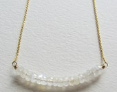 Rainbow Moonstone Gold Filled Bar Necklace