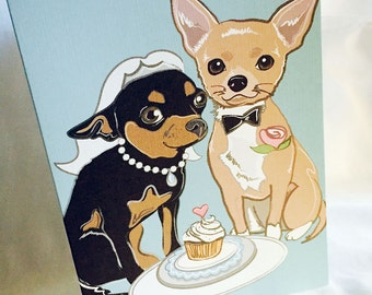 Wedding Chihuahuas - Greeting Card