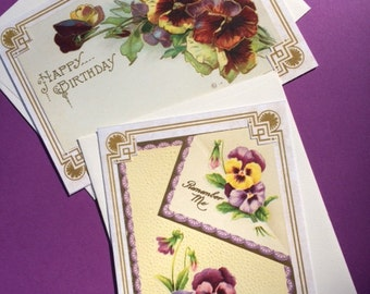 Pansy Cards Antique Postcards Made Into Unique OOAK Cards Pansies Happy Birthday & Remember Me