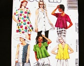 Womens Trapeze Blouse Pattern Misses size XL 22 24 Bust 44 46 UNCUT Trapeze Sleeveless or Short Sleeve Shirt with Pockets Sewing Pattern