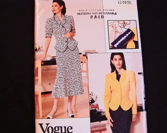 Vogue Pattern, Misses Size 12 14 16, UNCUT, Women Suit Pattern, Top with Fit and Flared Skirt Sewing Pattern