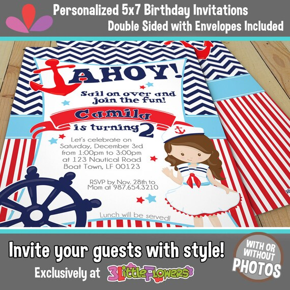 Nautical Birthday Invitations Nautical Party Invitations 5 x 7