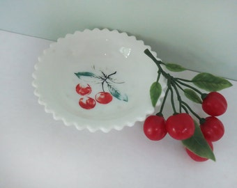 Vintage Westmoreland Milk Glass Berry Bowl with Faded Red Cherries and a Scalloped Rim