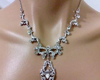 Statement Bridal Necklace, Art Nouveau Wedding Necklace, Vines Necklace, Leaves Bridal Jewelry, Swarovski Crystal Wedding Jewelry, ESMIRALDA
